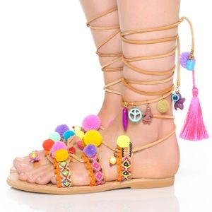 Shoes - Elina Linadarki colorful lace up sandals